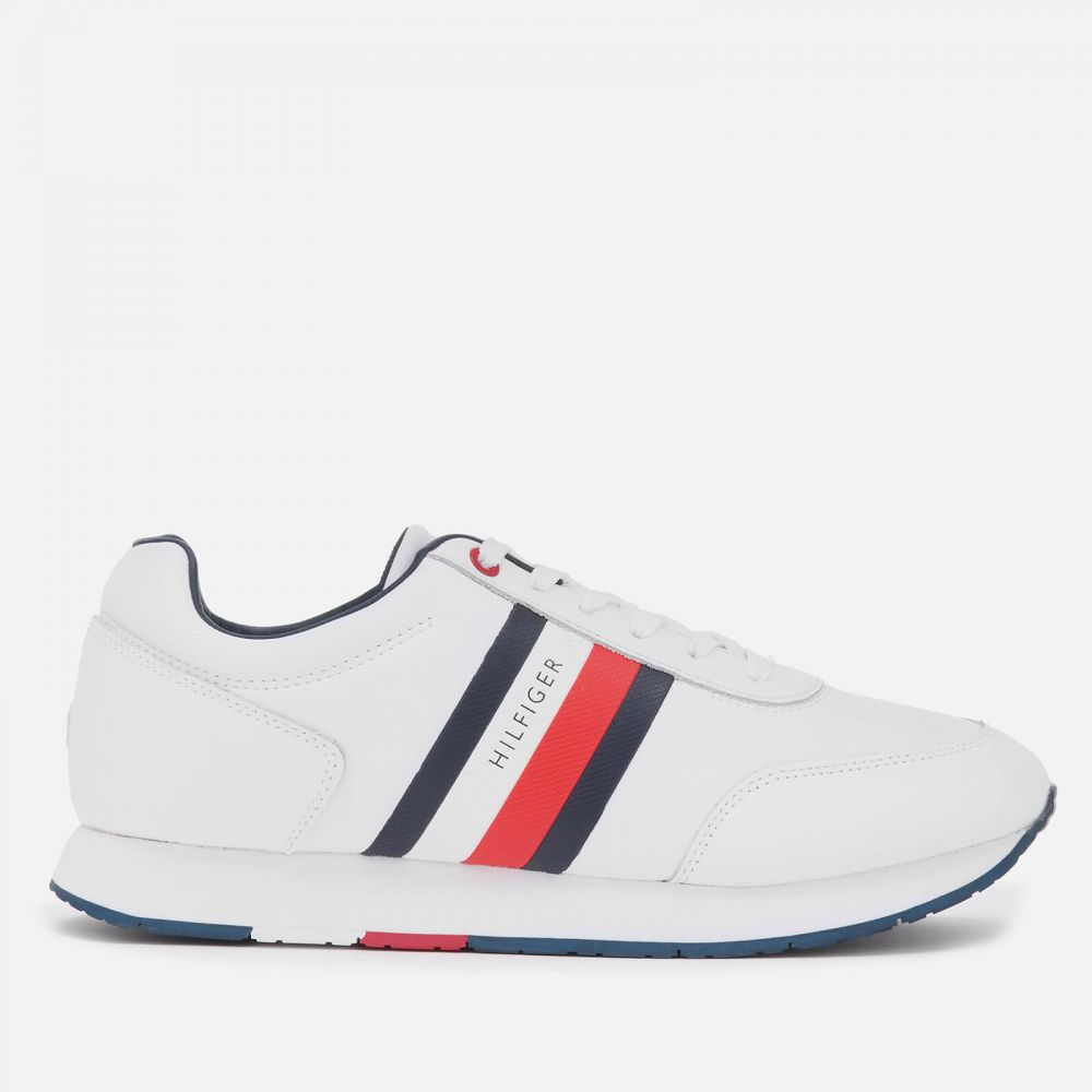 トミー ヒルフィガー Tommy Hilfiger メンズ ランニング・ウォーキング シューズ・靴【Corporate Leather Flag Running Style Trainers - White】White