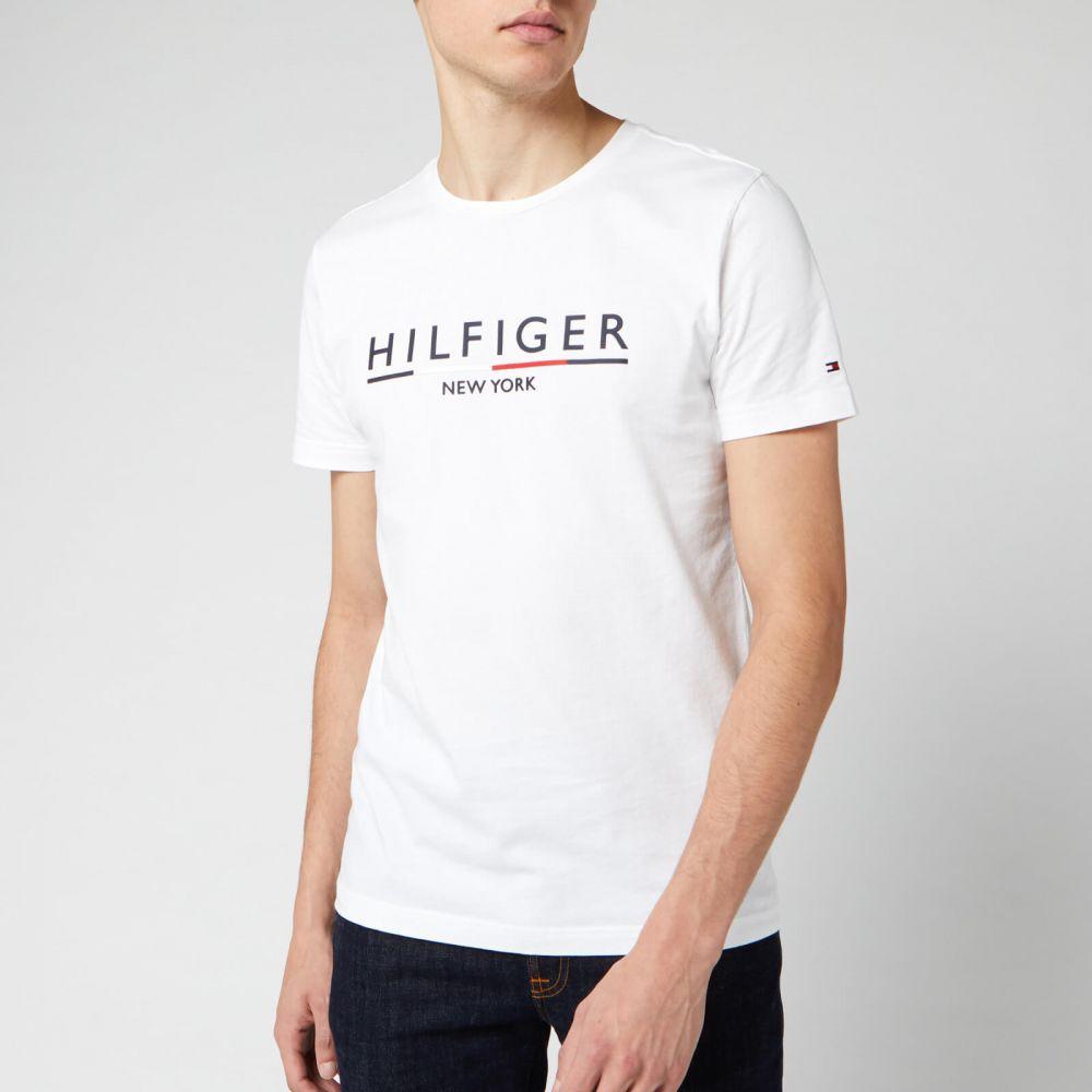トミー ヒルフィガー Tommy Hilfiger メンズ Tシャツ トップス【Corporate Underline T-Shirt - Bright White】White