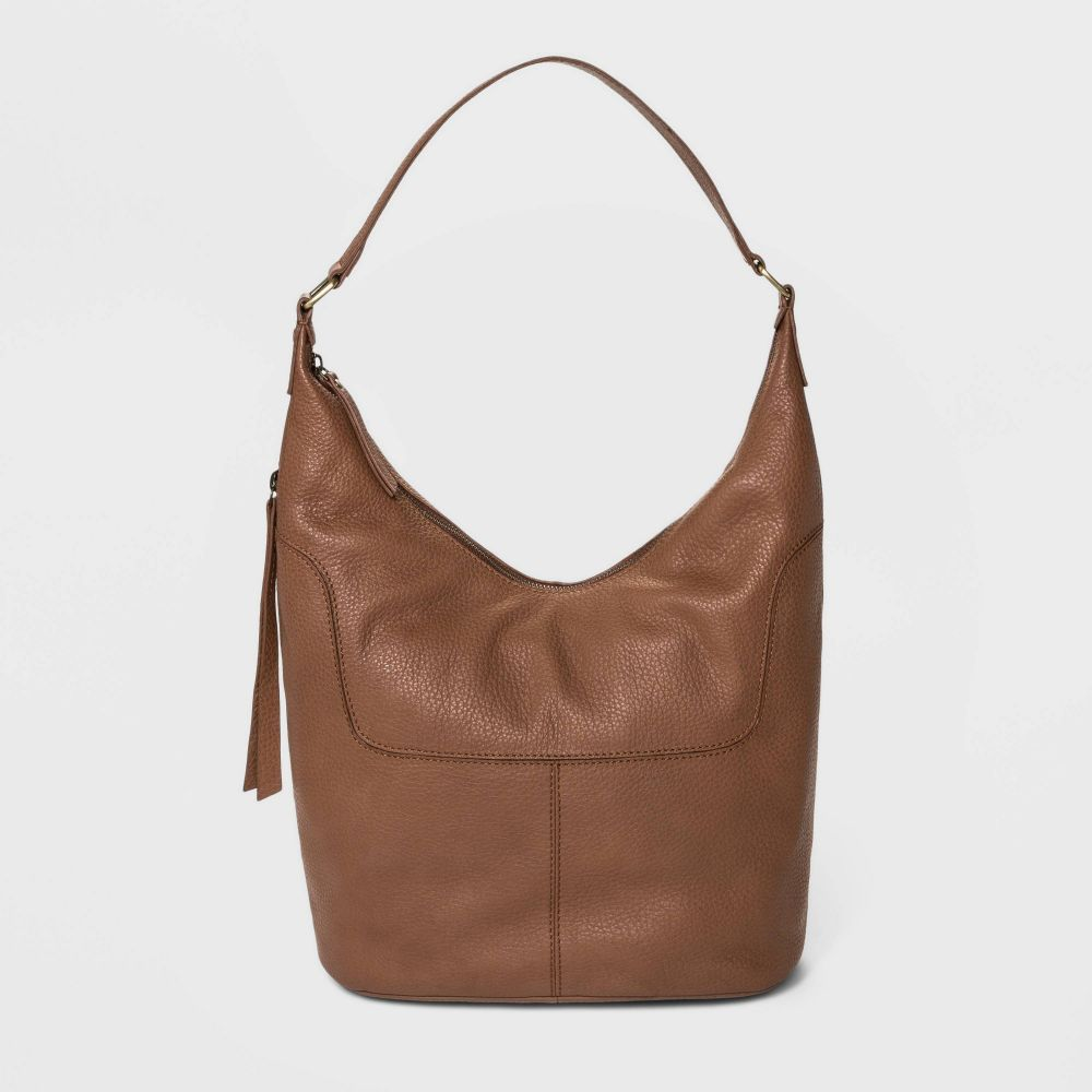 ボーロ Bolo レディース ショルダーバッグ バッグ【Soft Mello Pebble Leather Hobo Handbag】Brown