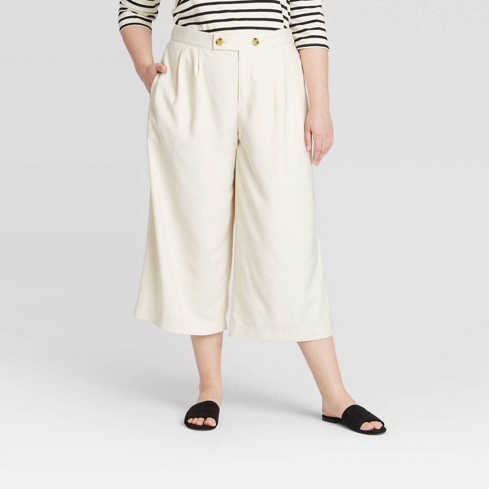 フー ワット ウェアー Who What Wear レディース クロップド ワイドパンツ 大きいサイズ ボトムス・パンツ【Plus Size Mid-Rise Pleat Front Wide Leg Cropped Trouser - Off White】