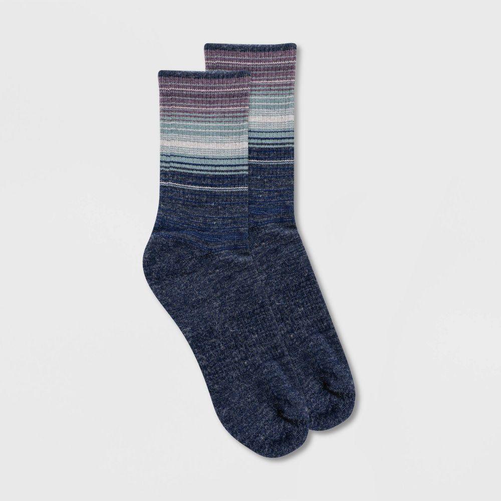 アラスカ レディース インナー 下着 ソックス Navy Alaska 春の新作シューズ満載 無料サンプルOK Knits Wool 4-10 Crew - Blend Mid Striped Boot Ombre Socks
