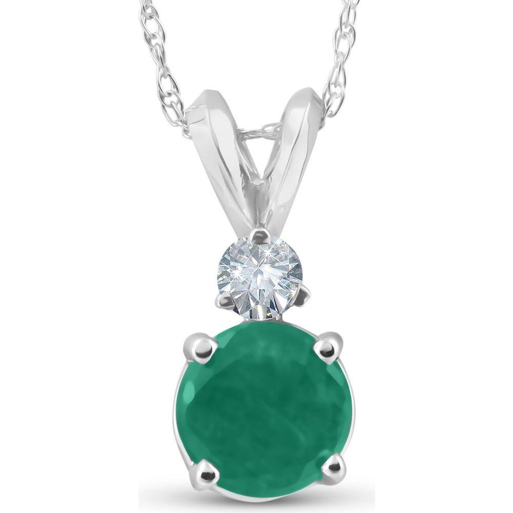ポンペイ Pompeii3 レディース ネックレス ジュエリー・アクセサリー【1 1/20ct Genuine Emerald Solitaire Pendant 14K White Gold】