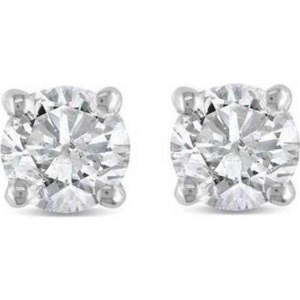 ポンペイ Pompeii3 レディース イヤリング・ピアス ジュエリー・アクセサリー【1/2Ct Round Diamond Studs Earrings in 14K White Or Yellow Gold Basket Setting】white gold