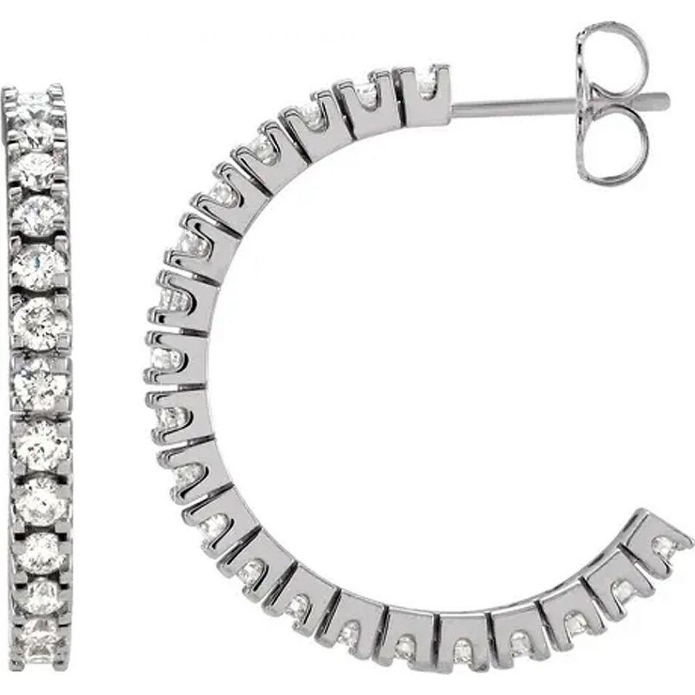 ポンペイ Pompeii3 レディース イヤリング・ピアス ジュエリー・アクセサリー【1 cttw Diamond Hoops With Push Back 14K White Gold 20mm Tall】