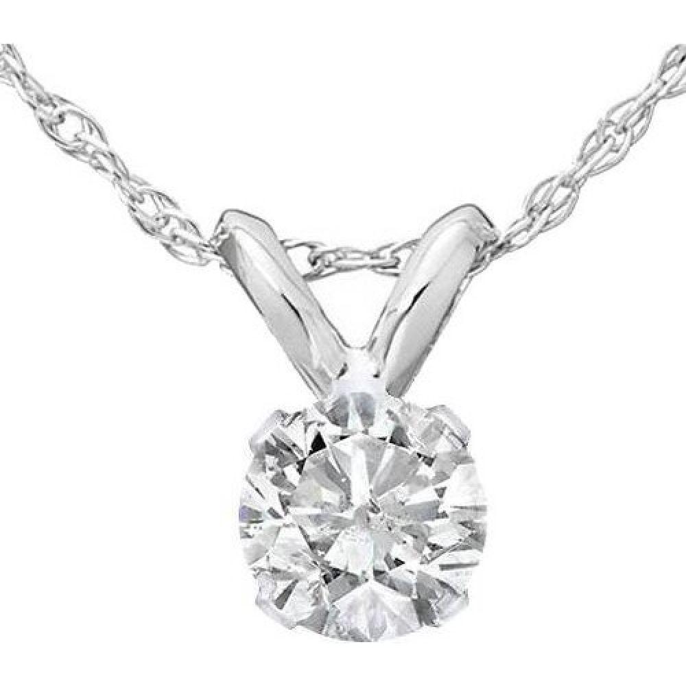 ポンペイ Pompeii3 レディース ネックレス ジュエリー・アクセサリー【1/2ct Solitaire Diamond Pendant Necklace 14K White Gold】