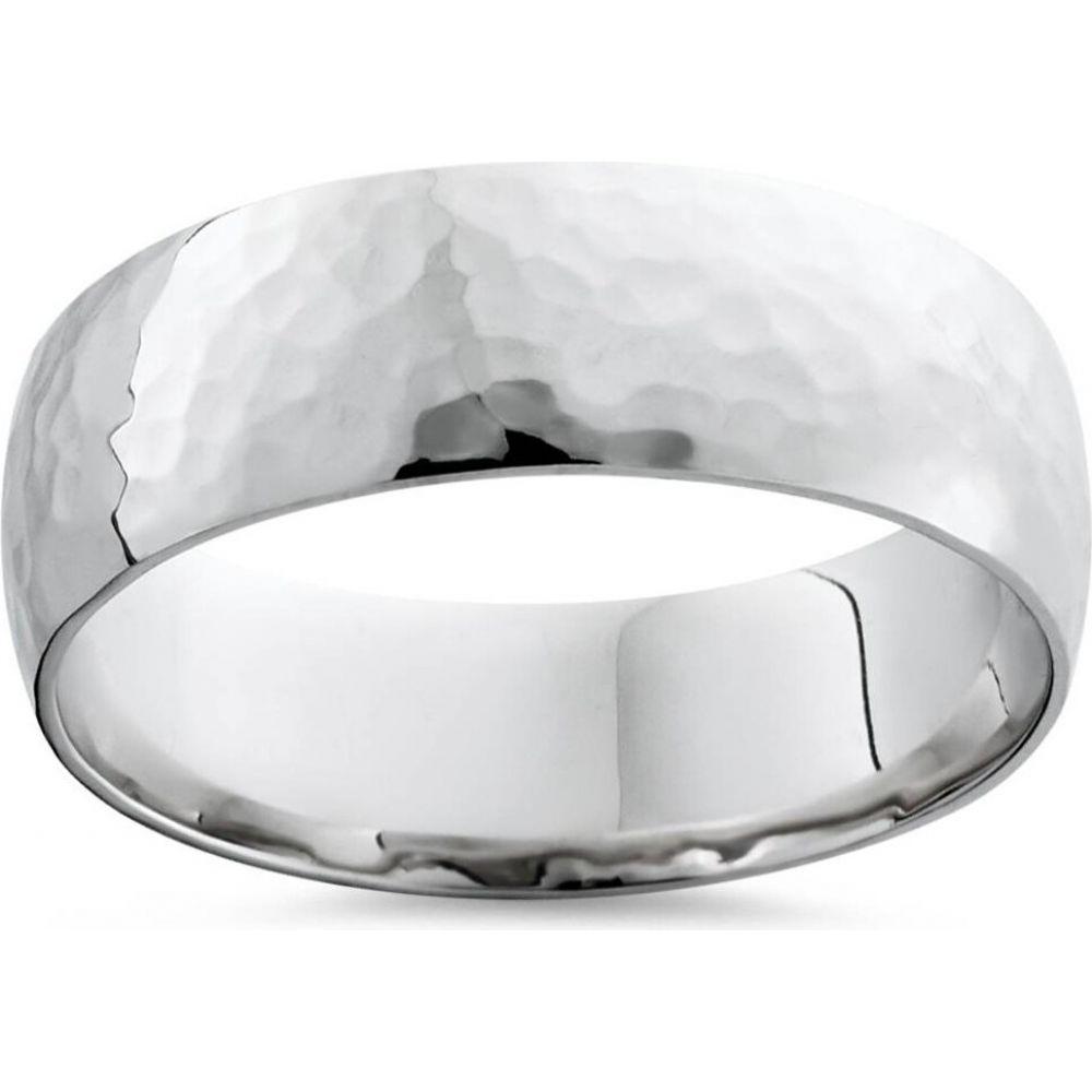 ポンペイ メンズ ジュエリー お気に入 アクセサリー 指輪 リング サイズ交換無料 Pompeii3 結婚指輪 Hammered 7mm White Polished ストアー Wedding 10K Gold Band