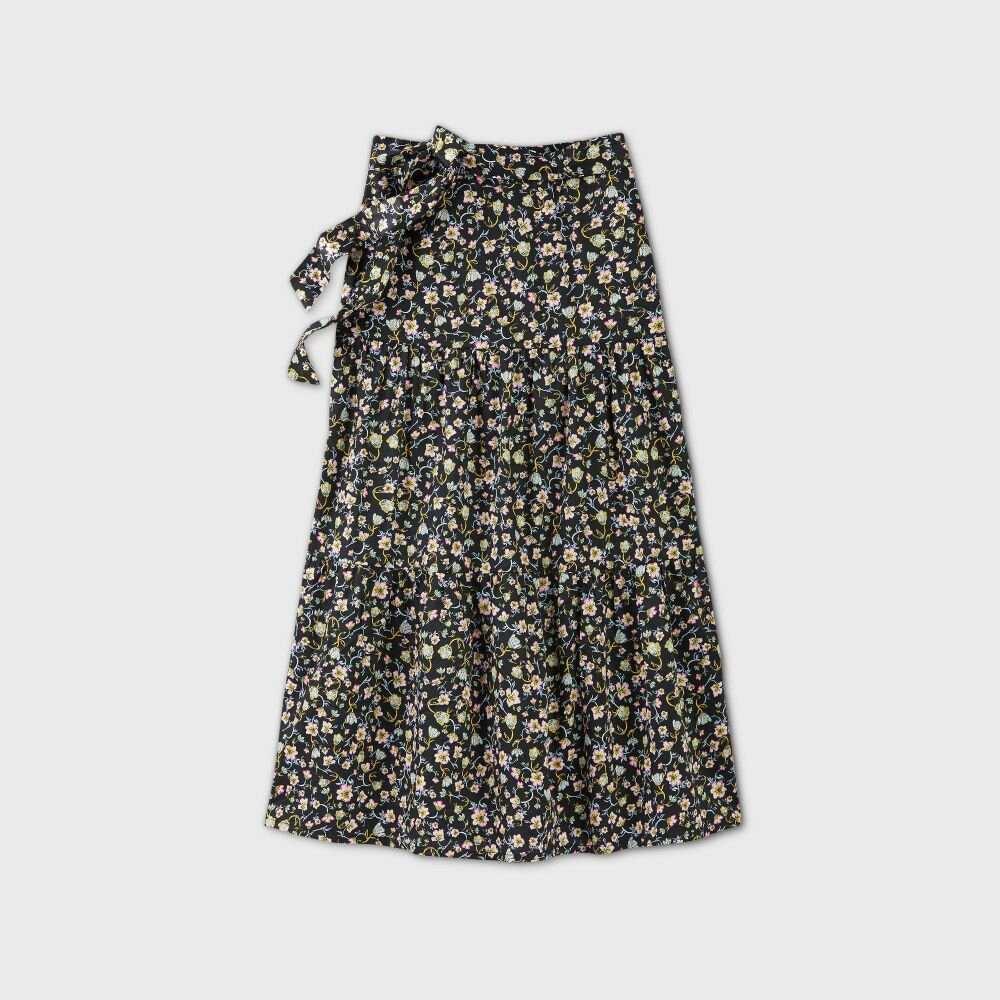 フー ワット ウェアー Who What Wear レディース ロング・マキシ丈スカート ティアードスカート スカート【Floral Print Tiered A-Line Maxi Skirt -】Black