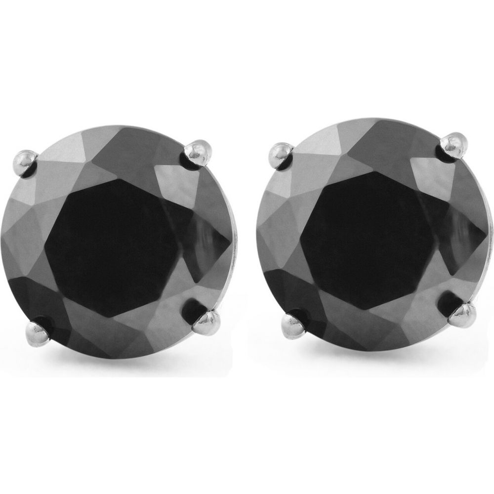 ポンペイ Pompeii3 レディース イヤリング・ピアス ジュエリー・アクセサリー【2Ct Treated Black Diamond Studs Earrings In 14K White & Yellow Gold in Basket Setting】yellow gold