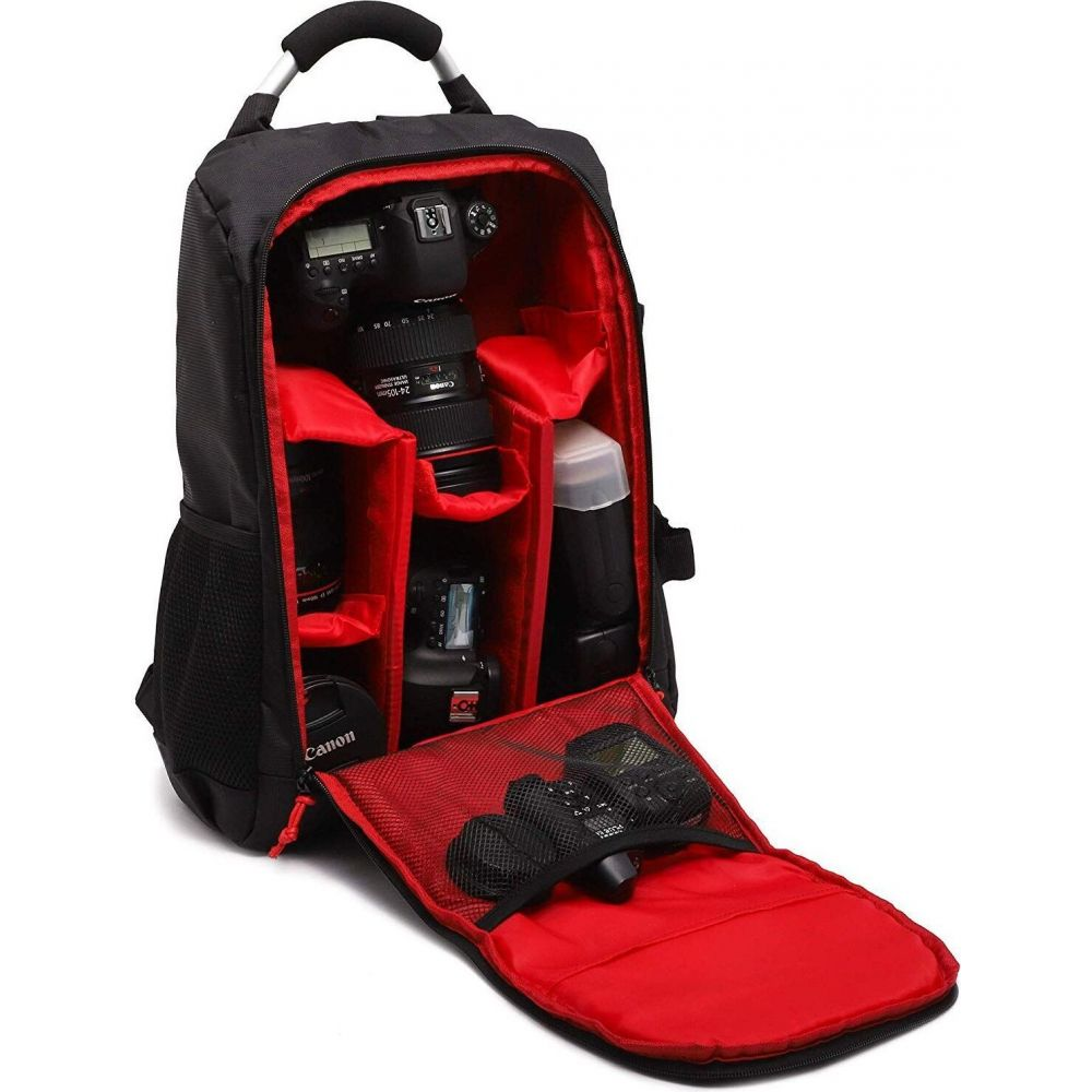 ジュベール Juvale メンズ バックパック・リュック カメラバッグ バッグ【Camera Backpack Bag for Photographer DSLR/SLR Cameras, Lenses, Tripods, Flashes & Accessories, Black/ Red】