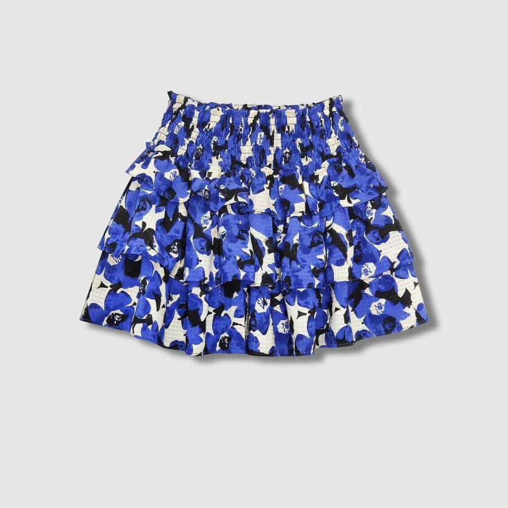 フー ワット ウェアー Who What Wear レディース ミニスカート スカート【Smocked Ruffle A-Line Mini Skirt -】Blue