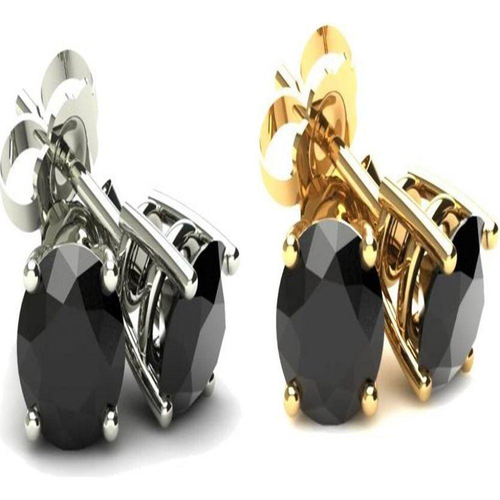 ポンペイ Pompeii3 レディース イヤリング・ピアス ジュエリー・アクセサリー【4 Ct Round Heat Treated Black Diamond 14K White Or Yellow Gold Studs Earrings in Basket Setting】white gold