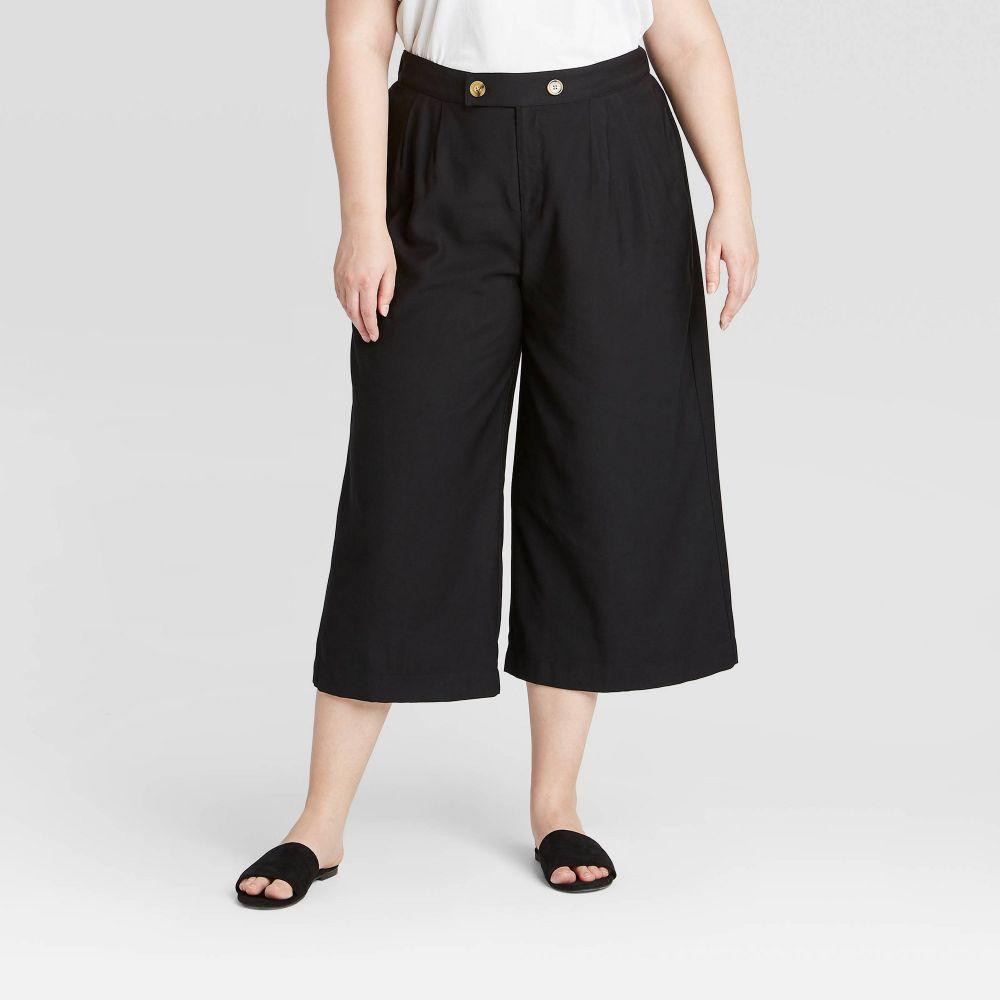 フー ワット ウェアー Who What Wear レディース クロップド 大きいサイズ ボトムス・パンツ【Plus Size High-Rise Cropped Trouser - Black】