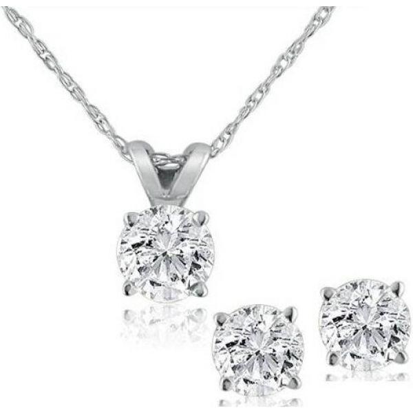 ポンペイ Pompeii3 レディース ネックレス ジュエリー・アクセサリー【Diamond Solitaire Necklace & Studs Earrings Set 3/4 Carat 14K White Gold】