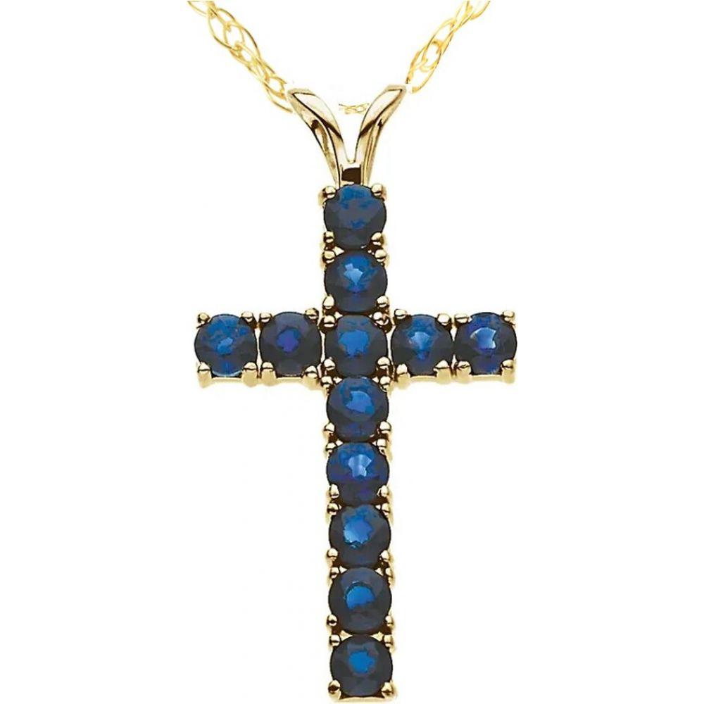 ポンペイ Pompeii3 レディース ネックレス ジュエリー・アクセサリー【1 1/5 Ct Genuine Blue Sapphire Cross Pendant Necklace 18
