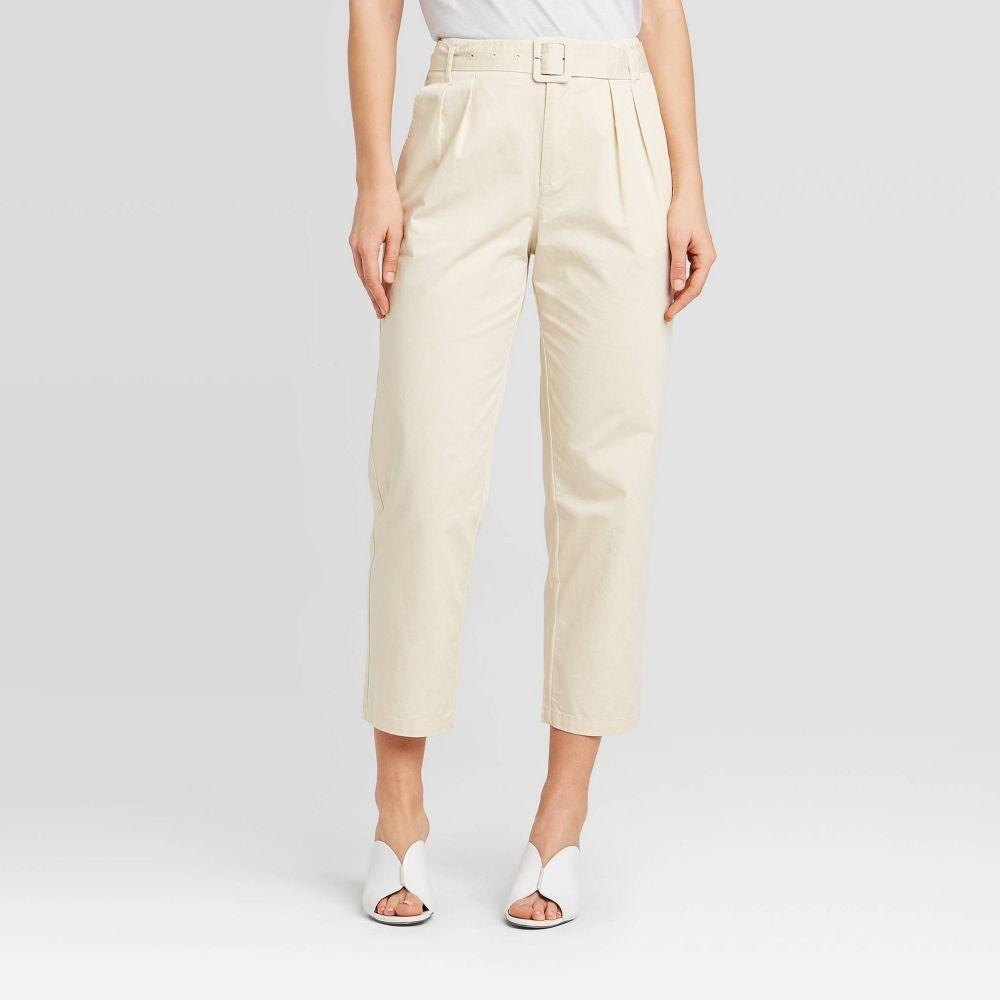 フー ワット ウェアー Who What Wear レディース ボトムス・パンツ 【Mid-Rise Pleat Front Straight Carrot Leg Trouser - Cream】