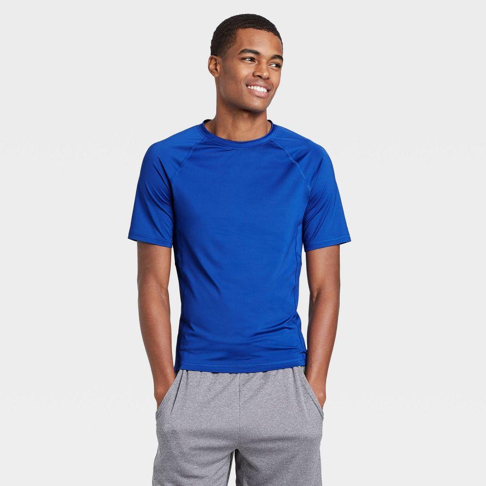 オールインモーション メンズ フィットネス トレーニング トップス Blue サイズ交換無料 期間限定特別価格 All in 流行 Short Fitted Sleeve Motion T-Shirt -