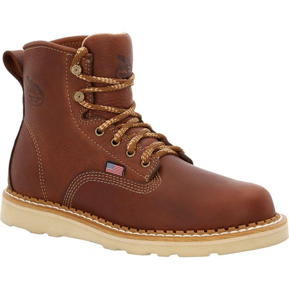 ジョージアブーツ メンズ シューズ 靴 ブーツ brown サイズ交換無料 Georgia USA Toe プレゼント Wedge 35%OFF Steel ワークブーツ Work ウェッジソール Boot