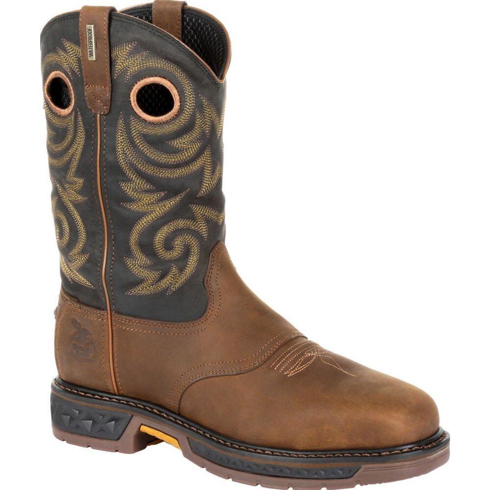 ジョージアブーツ メンズ シューズ 靴 ブーツ black and brown サイズ交換無料 Georgia 引き出物 ワークブーツ Steel Pull LT Boot Carbo-Tec On 新作通販 Work Toe Waterproof