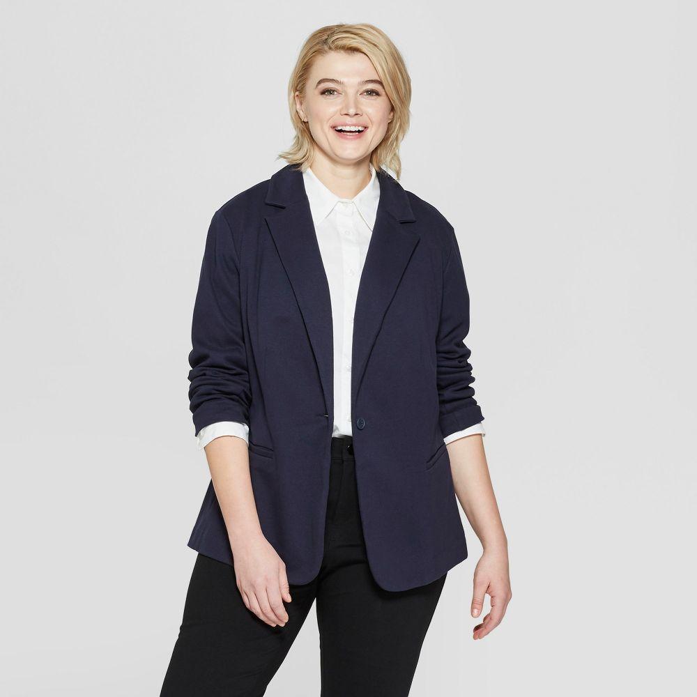 アヴァ&ヴィヴィ Ava & Viv レディース スーツ・ジャケット 大きいサイズ アウター【Plus Size Knit Blazer -】Navy
