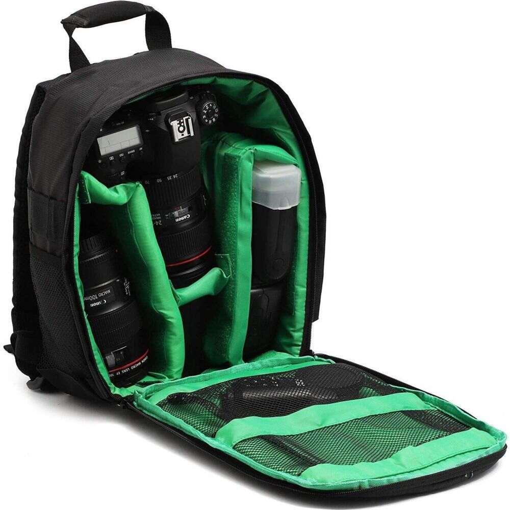ジュベール Juvale メンズ バックパック・リュック カメラバッグ バッグ【Camera Backpack Bag for Photographer DSLR/SLR Cameras, Lenses, Tripods, Flashes & Accessories, Black/ Green】
