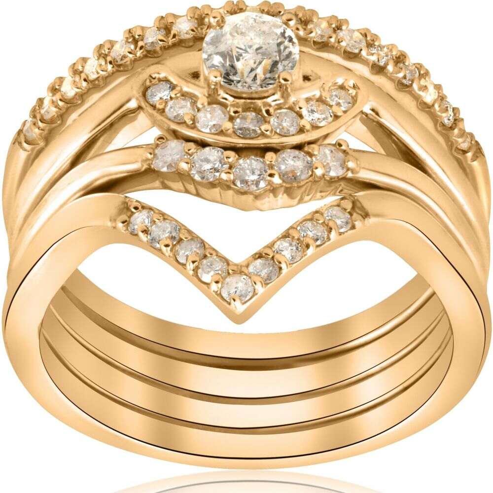 セール特価 ポンペイ Pompeii3 Stackable レディース 指輪・リング ジュエリー Set】・アクセサリー【1/2ct Gold 4-Ring Stackable 10k Yellow Gold Diamond Solitaire Wedding Engagement Set】, タニックスショップ:e4ff98f4 --- inglin-transporte.ch