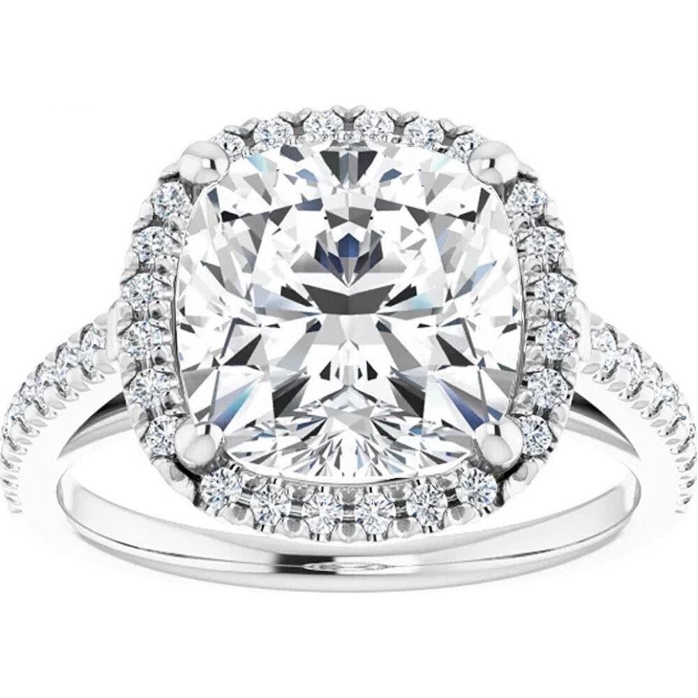 ポンペイ レディース ジュエリー アクセサリー 指輪 リング サイズ交換無料 Pompeii3 3 1 2 数量限定アウトレット最安価格 Lab Halo Ring Moissanite 訳あり品送料無料 White Cushion Gold Engagement Ct 10k Diamond