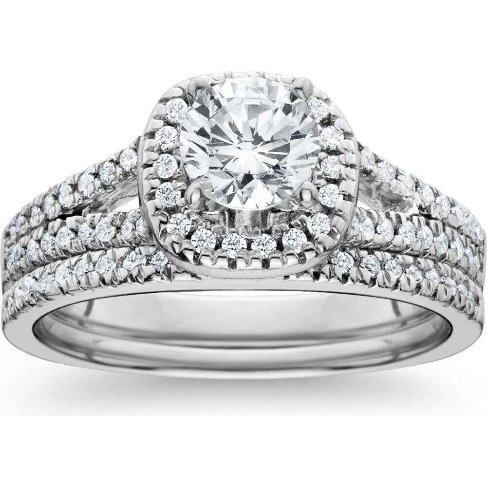 日本限定 ポンペイ Pompeii3 レディース 指輪 Wedding・リング White ジュエリー・アクセサリー Ring【1ct Halo Diamond Engagement Ring Set Split Shank Bridal Wedding 14K White Gold】, eco future:f33e4e9b --- inglin-transporte.ch