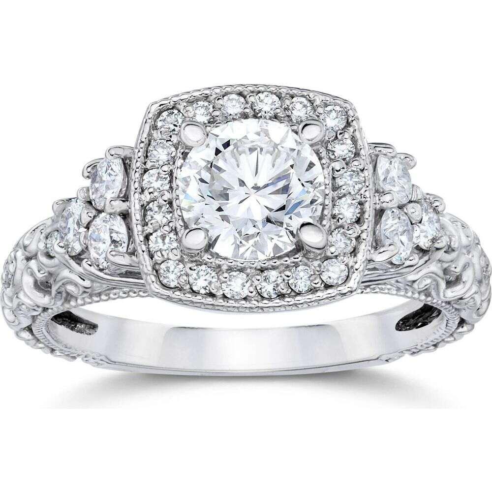ポンペイ レディース ジュエリー アクセサリー 指輪 リング サイズ交換無料 Pompeii3 在庫あり 1CT ※アウトレット品 Cushion Round Vintage 14K White Gold Diamond Halo Engagement Ring