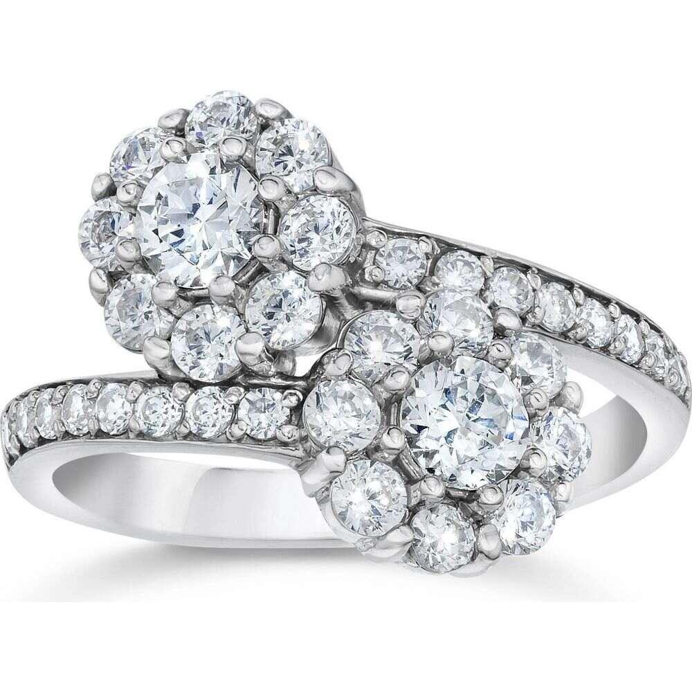 激安通販販売 ポンペイ レディース ジュエリー アクセサリー 指輪 リング サイズ交換無料 Pompeii3 1 大幅値下げランキング 2CT Forever 14K Stone Diamond Us White Two Gold Engagement Ring Halo