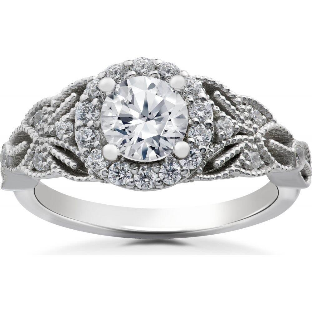 ポンペイ レディース ジュエリー アクセサリー 指輪 リング サイズ交換無料 Pompeii3 1 5 お気に入 Ct Gold White お得 Halo Floral 14k Antique Vintage Diamond Engagement Ring