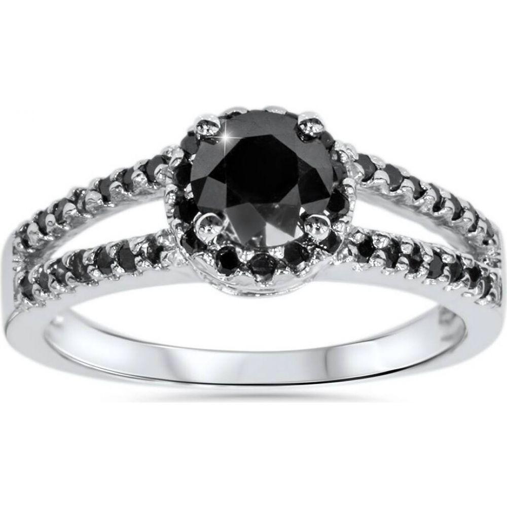 数量限定アウトレット最安価格 ポンペイ レディース ジュエリー アクセサリー 指輪 リング サイズ交換無料 Pompeii3 2CT Black Halo White 14K Gold Engagement Split Diamond Shank 予約 Ring
