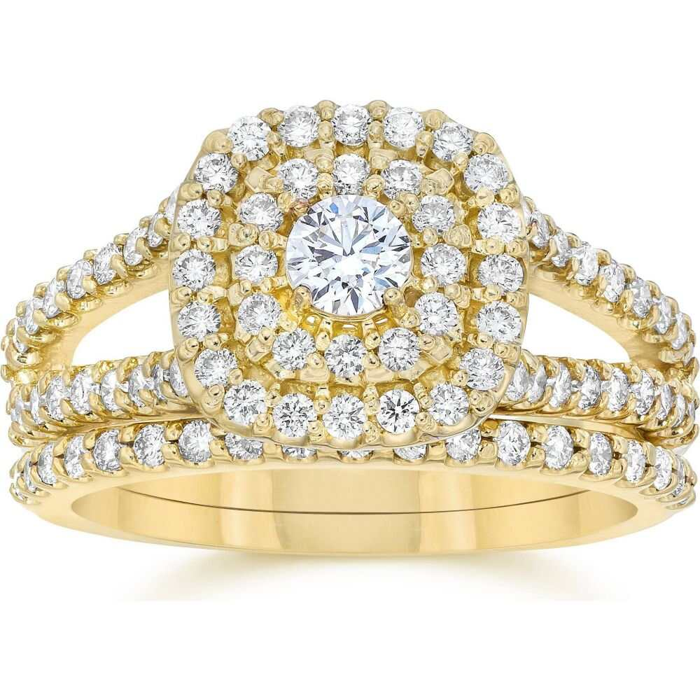 <title>ポンペイ レディース ジュエリー アクセサリー 指輪 リング サイズ交換無料 Pompeii3 1 国産品 10CT Cushion Halo Diamond Engagement Wedding Ring Set 10K Yellow Gold</title>