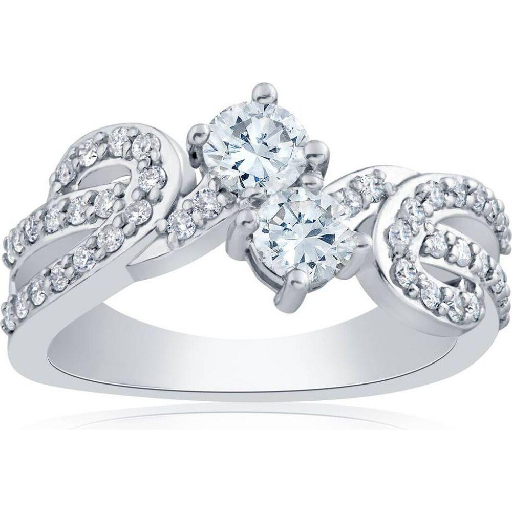 ジュエリー・アクセサリー【1 ct 2-Stone Engagement Pompeii3 Anniversary 指輪・リング Gold】white Us ポンペイ Ring Solitaire White Diamond レディース Forever