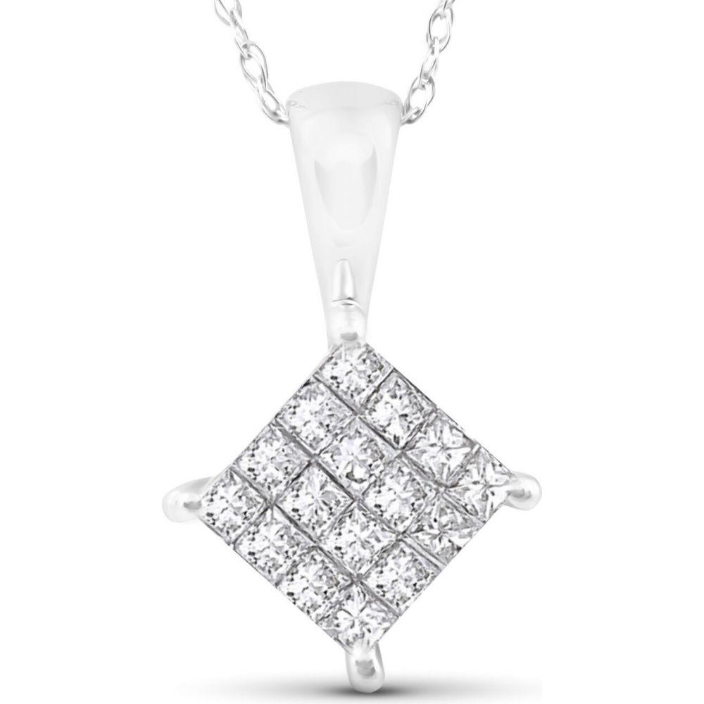 ポンペイ Pompeii3 レディース ネックレス ジュエリー・アクセサリー【1/2 cttw Princess Cut Pave Diamond Halo Pendant 10K White Gold 5/8