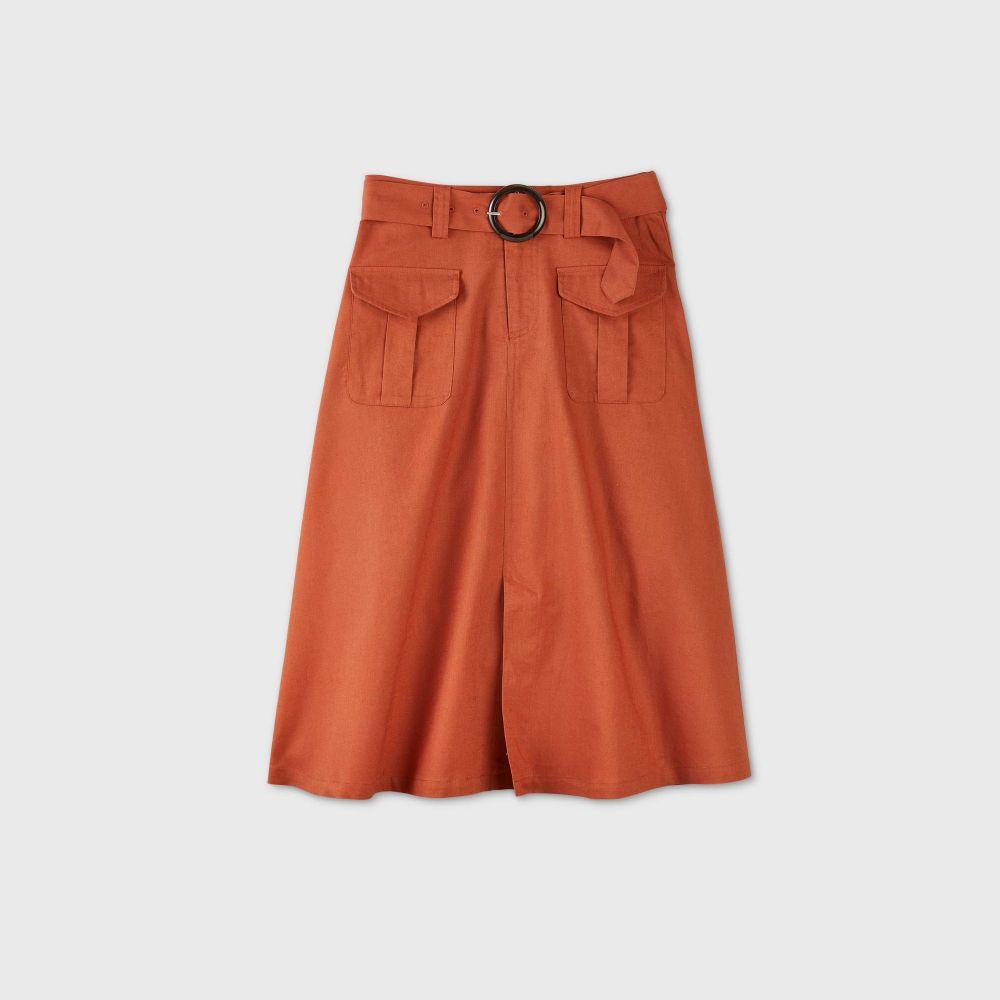 フー ワット ウェアー Who What Wear レディース ひざ丈スカート スカート【Utility A-Line Midi Skirt - Brown】