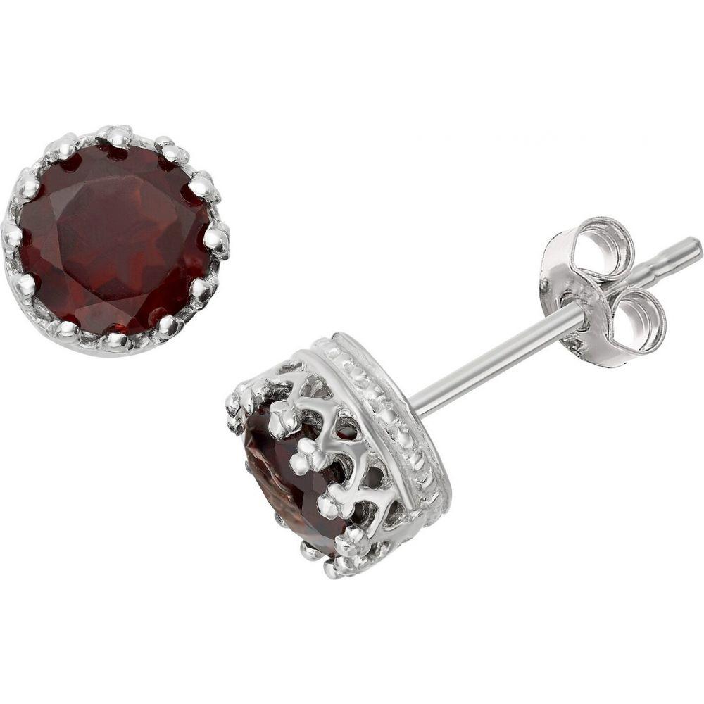 ティアラ Tiara レディース イヤリング・ピアス ジュエリー・アクセサリー【6mm Round-cut Garnet Crown Earrings in Sterling Silver】