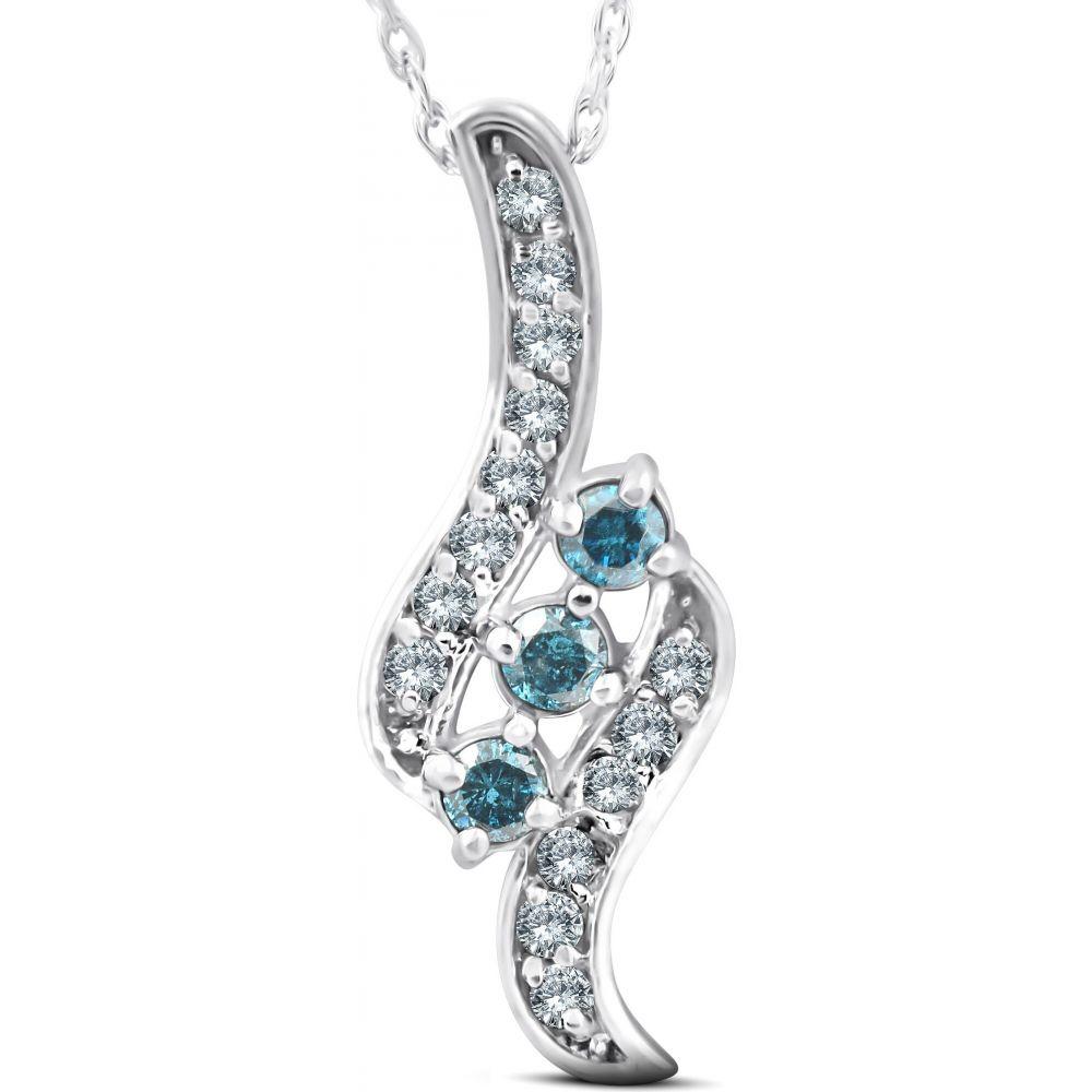 ポンペイ Pompeii3 レディース ネックレス ジュエリー・アクセサリー【1/3ct 3-Stone Blue Diamond Pendant 14 KT White Gold】