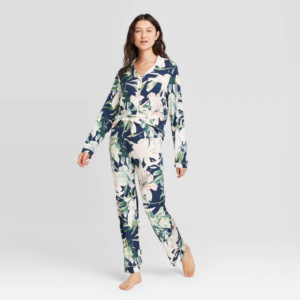 スターズアバブ Stars Above レディース パジャマ・上下セット インナー・下着【Floral Print Beautifully Soft Notch Collar Pant Pajama Set - Navy】