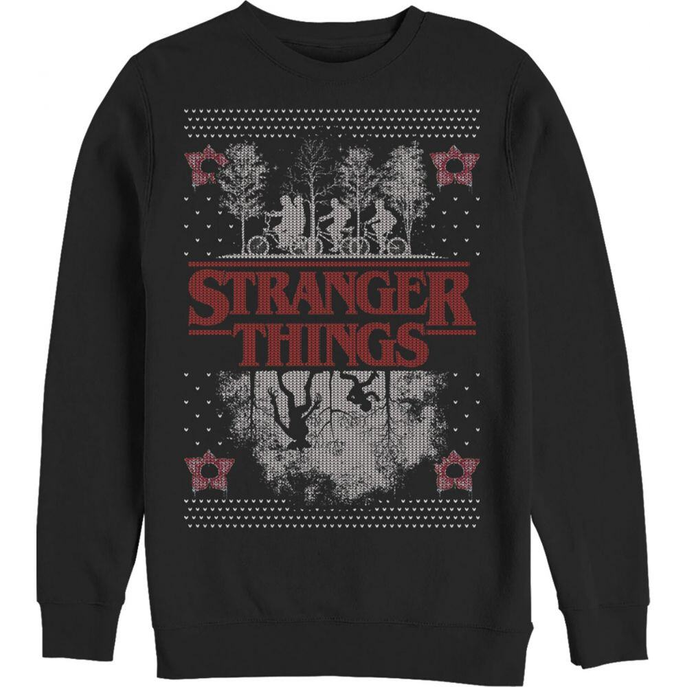 フィフス サン Fifth Sun メンズ スウェット・トレーナー トップス【Stranger Things Ugly Christmas Sweater Style Sweatshirt】black
