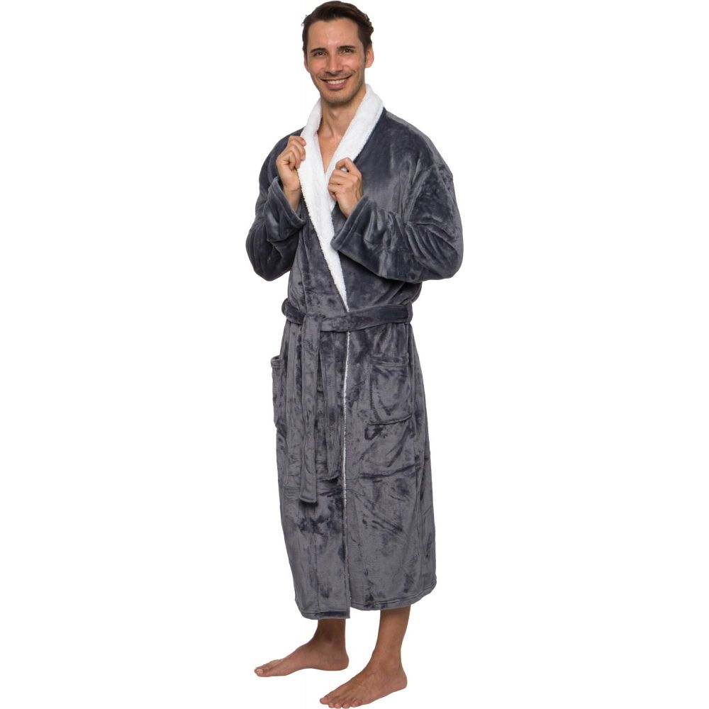 ロスマイケル メンズ インナー・下着 ガウン・バスローブ grey 【サイズ交換無料】 ロスマイケル Ross Michaels メンズ ガウン・バスローブ バスローブ インナー・下着【Plush Luxury Bathrobe with Sherpa Trim】grey