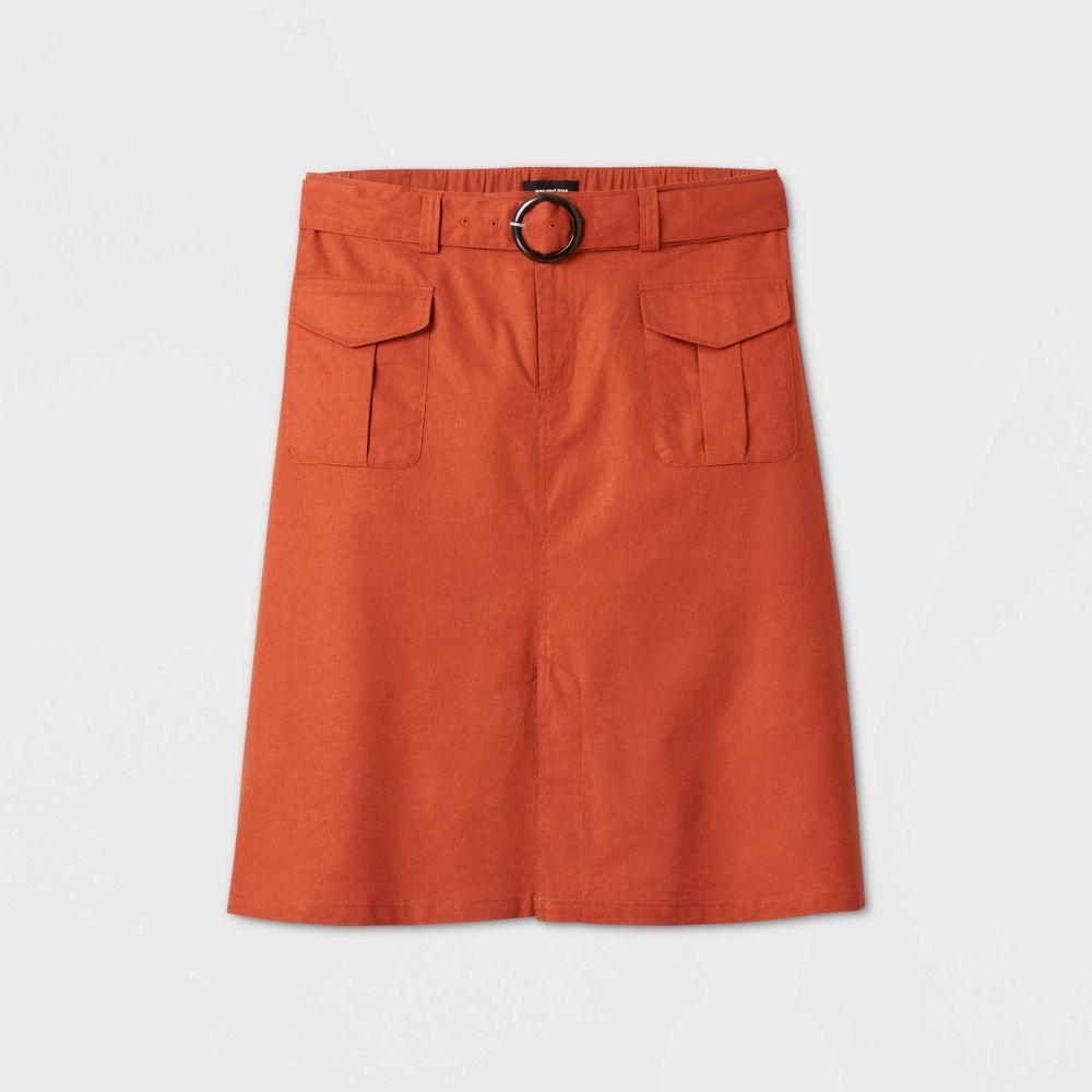 フー ワット ウェアー Who What Wear レディース ひざ丈スカート 大きいサイズ スカート【Plus Size Mid-Rise Utility Midi Skirt -】Brown