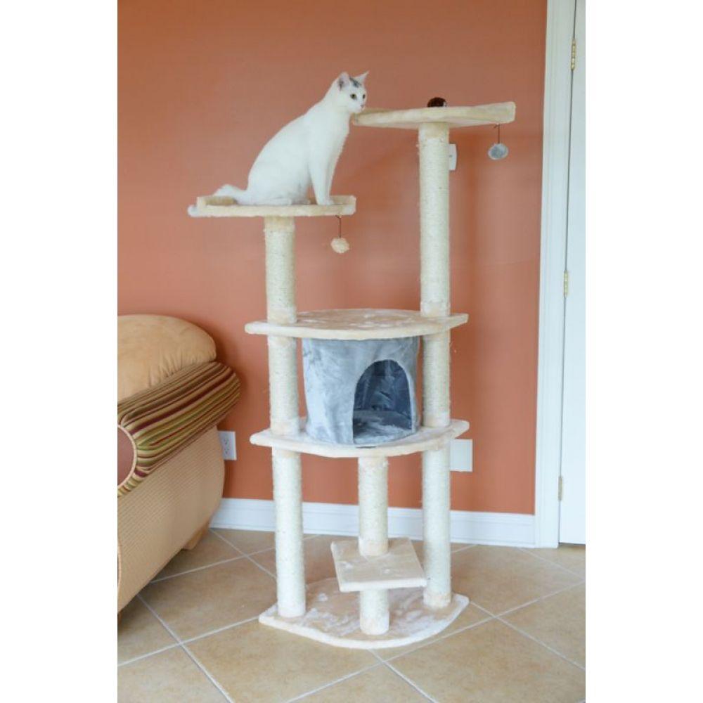 アーマーカット Armarkat ペットグッズ 新作続 猫用品 Classic Cat Tree Almond Blanched Gray Silver Condo 美品 in 64