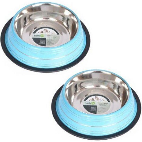 アイコニック Iconic Pet ペットグッズ 犬用品 物品 食器 フードボウル Splash Pack Color NonSkid お得 Bowl 2 Blue