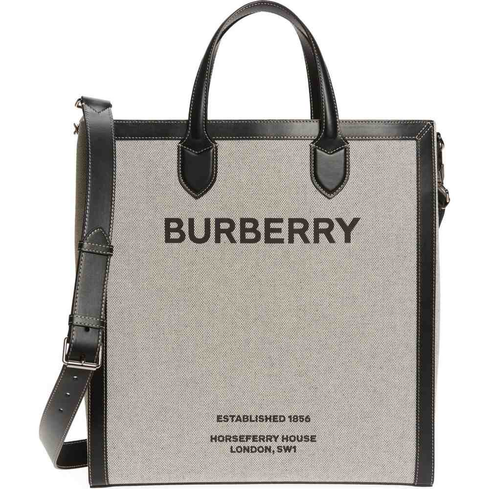 バーバリー 新作送料無料 セール特別価格 メンズ バッグ トートバッグ Black サイズ交換無料 BURBERRY Tote Medium Canvas Logo Kane Horseferry キャンバストート