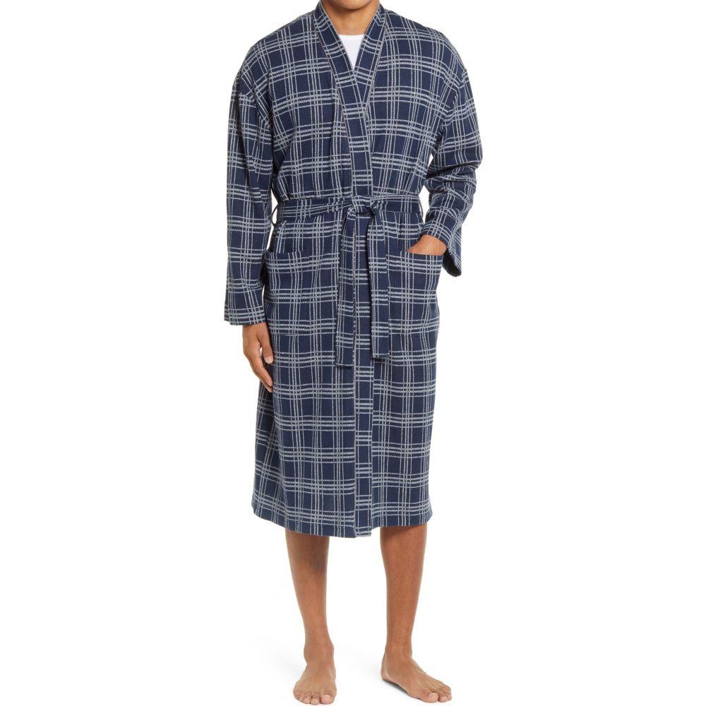 マジェスティック メンズ インナー・下着 ガウン・バスローブ Midnight Plaid マジェスティック MAJESTIC INTERNATIONAL メンズ ガウン・バスローブ インナー・下着【Knit Cotton Blend Robe】Midnight Plaid