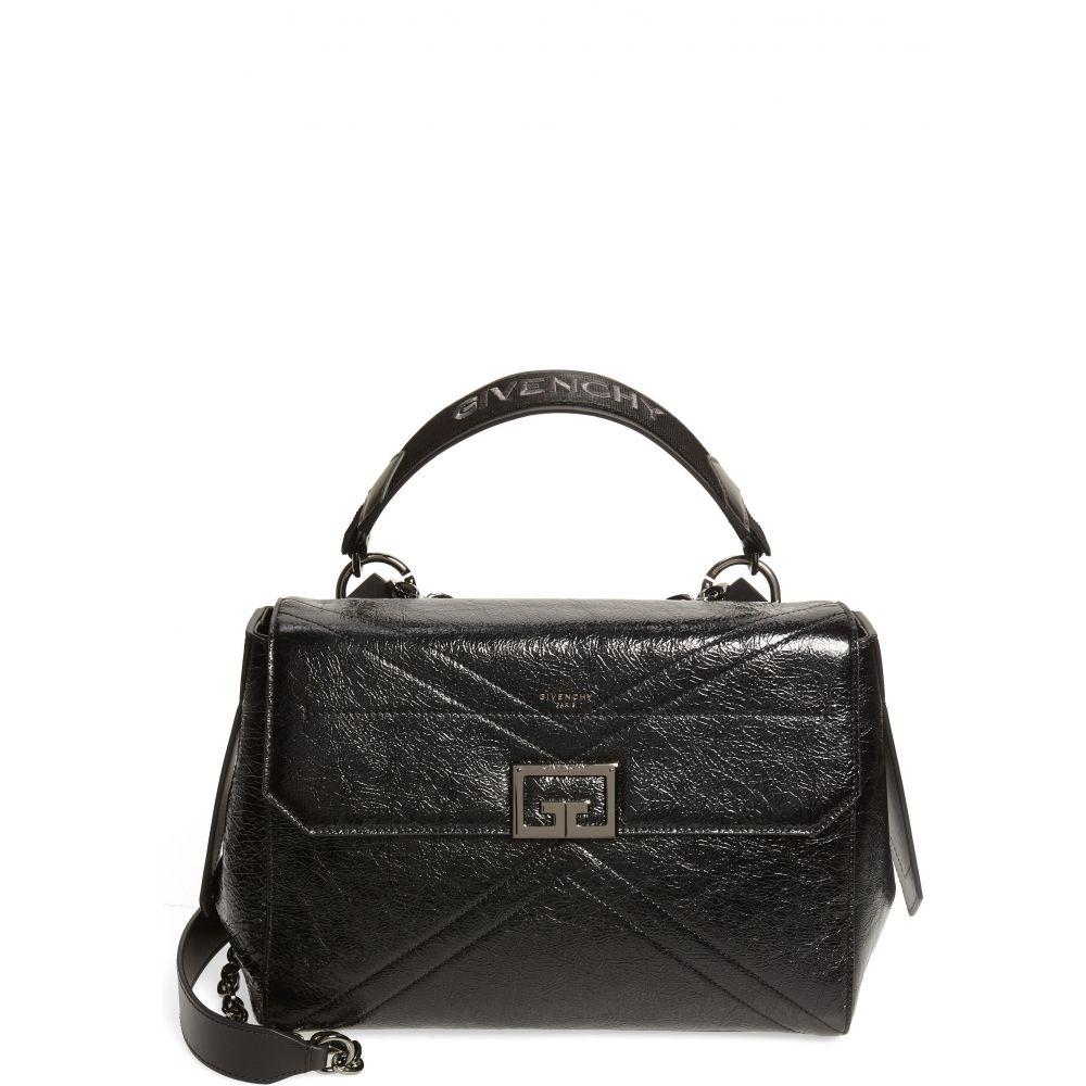 ジバンシー レディース バッグ ハンドバッグ Black サイズ交換無料 Creased Shiny サッチェルバッグ Leather 流行のアイテム お得セット Satchel GIVENCHY