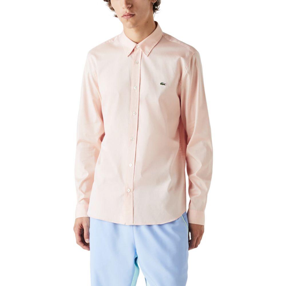 最新 ラコステ メンズ トップス シャツ Lantern Orange いつでも送料無料 サイズ交換無料 Button-Down Shirt Regular LACOSTE Solid Fit