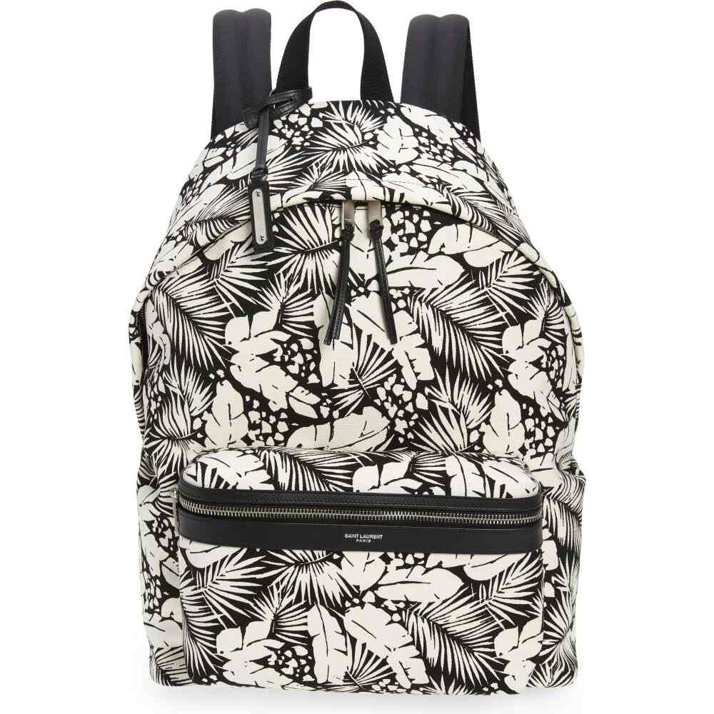 イヴ サンローラン メンズ バッグ バックパック リュック Black 高級品 Off Canvas SAINT Print Backpack 5☆好評 Palm LAURENT White サイズ交換無料