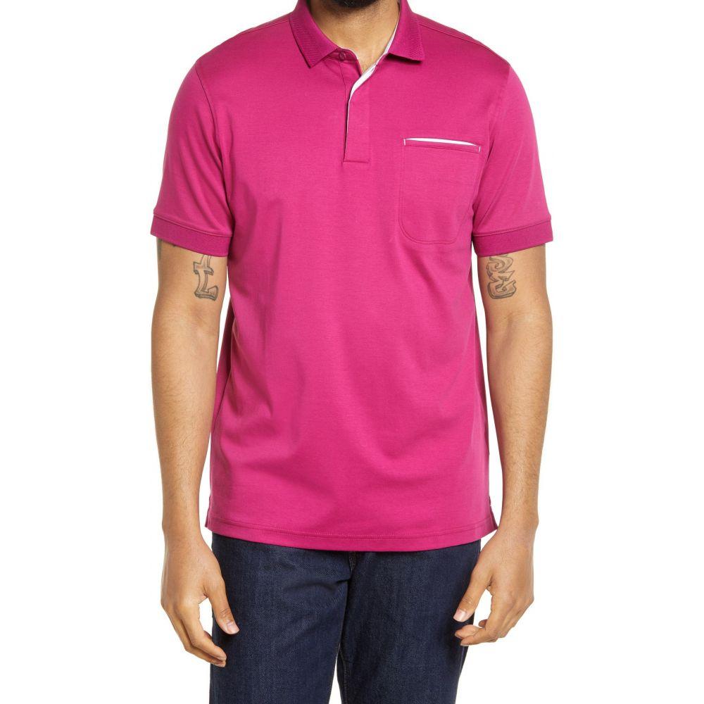 ブガッチ メンズ トップス ポロシャツ Berry サイズ交換無料 BUGATCHI Cotton Sleeve Polo 買取 Shirt Pima Seasonal Wrap入荷 Short 半袖
