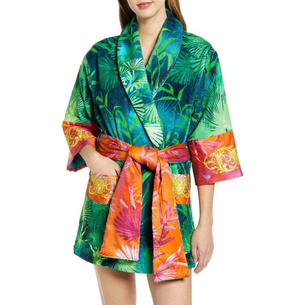 ヴェルサーチ メンズ インナー・下着 ガウン・バスローブ Green/Print ヴェルサーチ VERSACE メンズ ガウン・バスローブ ショート丈 インナー・下着【Jungle Print Short Robe】Green/Print